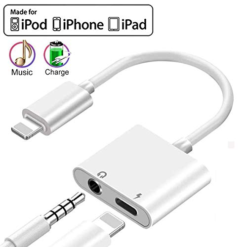 Headphone Jack Adapter Dongle for iPhone 11 Pro/8/7/7Plus/Xs Max/XR/X/10 to 3.5mm Jack Converter Car Charge Accessories Cables & Audio Connector Earphone Splitter Adaptor Support All New iOS System