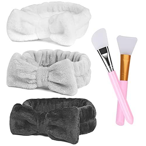URAQT Makeup Haarband, 3 Stücke Damen Kosmetik Stirnband mit 2 Stücke Silikonpinsel, SPA Haarreif für Gesichtsreinigung Schönheit Yoga