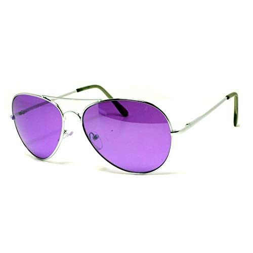 7f2665ddc10 VW Eyewear - Colorful Silver Metal Aviator With Color Lens Sunglasses