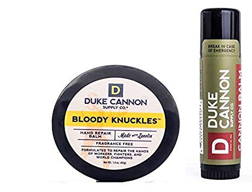 Duke Cannon Supply Co. - Mens Winter Defense Travel Bundle Kit (2 Piece Set) Includes Bloody Knuckles Hand Repair Balm (1.4 oz) and Cannon Tactical Lip Protectant (0.56 oz)