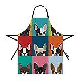 moslion dog apron 31x27 inch boston terrier cute fun animal cartoon pets dogs head face kitchen
