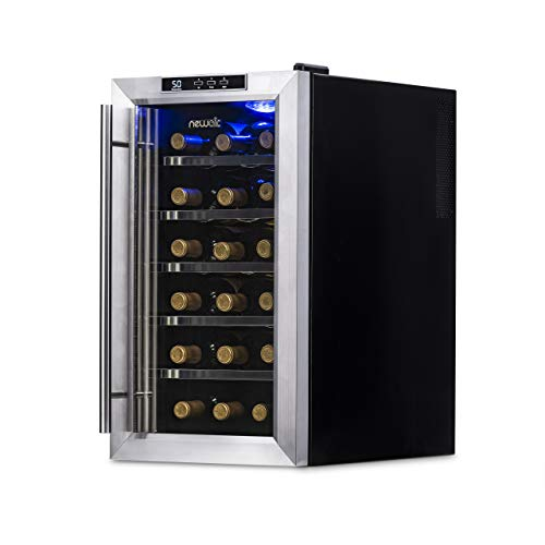 NewAir Wine Cooler and Refrigerator, 18 Bottle Freestanding Wine Chiller Fridge,...