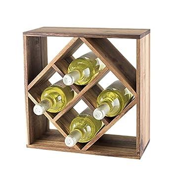 Twine Acacia Wood Lattice Rack Freestanding Wine Racks & Cabinets