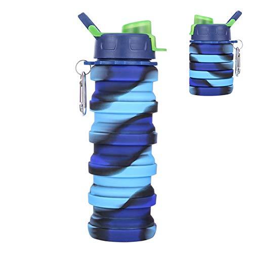 Botella de Agua Plegable, 500 ml Botella de Agua de Silicona portátil para Exteriores Botella de Bebida, Desmontable y fácil de Limpiar, Gimnasio de Viaje Camping Senderismo