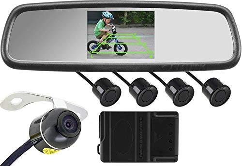 Espejo Retrovisor para Coche, Espejo retrovisor del coche + de la mariposa de la cámara + 4 + radar de búsqueda completa del arnés de cableado de 4,3 pulgadas