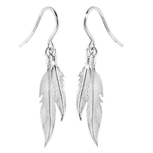 MATERIA 925 Silber Ohrhänger Federn - Damen Ohrringe silber hängend rhodiniert #SO-111
