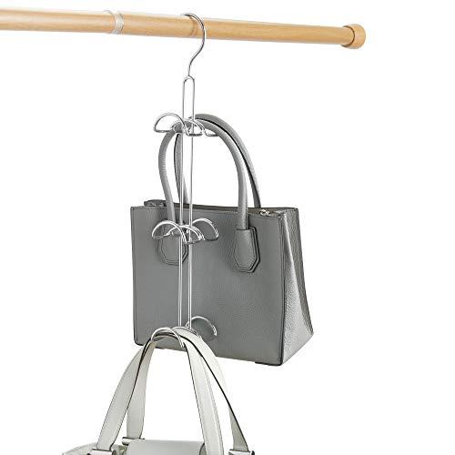 iDesign Perchas ahorra espacio para el armario, organizador de bolsos grande de metal, organizador colgante con 6 ganchos para bolsos, pañuelos u otros accesorios, plateado