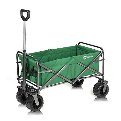 Sekey Folding Wagon Cart Beach Cart Collapsible Outdoor Utility Wagon Heavy Duty Wagon Collapsible...