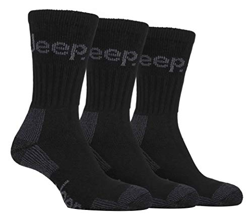 Mens 3 Pair Luxury Jeep Terrain Cushion Sole Walking Hiking Work Socks 6-11 uk, 39-45 (Black)