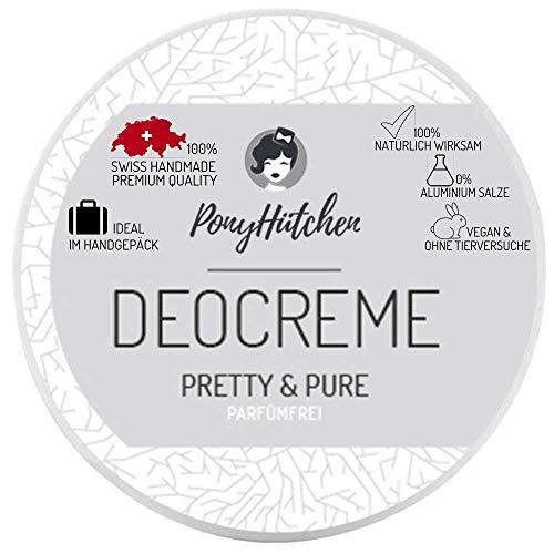 PonyHütchen Naturkosmetik Deo Creme Pretty Und Pure / PARFÜMFREI / Unisex / Natürliche Wirkung / Ohne Aluminiumsalze / 50 ml / Natürliches Deodorant / Vegan / BIO Deocreme