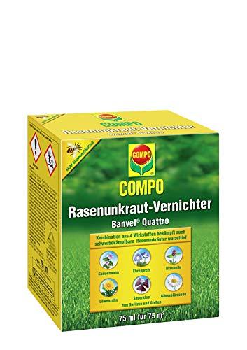 Compo Rasenunkraut-Vernichter Banvel Quattro (Nachfolger Banvel M), Bekämpfung von schwerbekämpfbaren Unkräutern im Rasen, Konzentrat, 75 ml (75 m²)