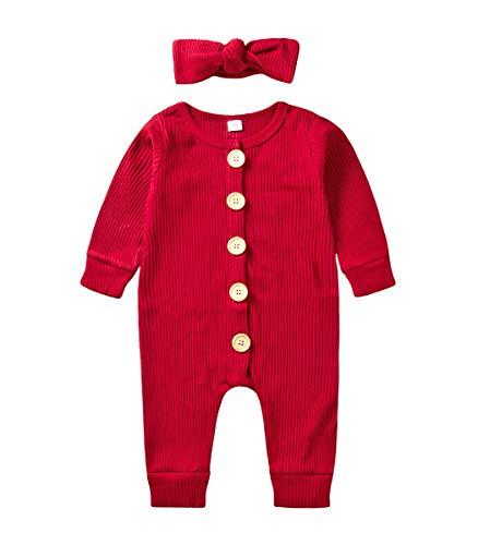Jurebecia Bebé Niñas Mamelucos de Punto Mono de Manga Larga Vestidos de Pijama Diadema Venda roja 0-3 Meses