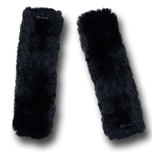 Zento Deals Soft Faux Sheepskin Seat Belt Shoulder Pad- Two Packs- A Must Have for All Car Owners for a More Comfortable Driving (Black) Car Seat Belt Cover Pad