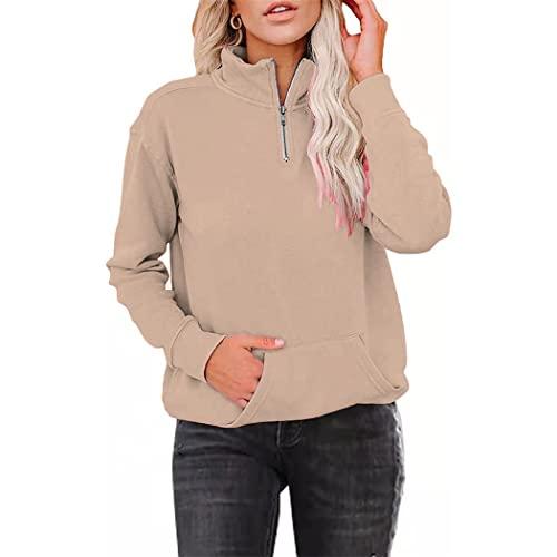 FRMUIC Women's Solid Color Fleece Sweatshirt Zipper Lapel Long Sleeve Pocket Sports Pullover (XX-Large, Khaki)