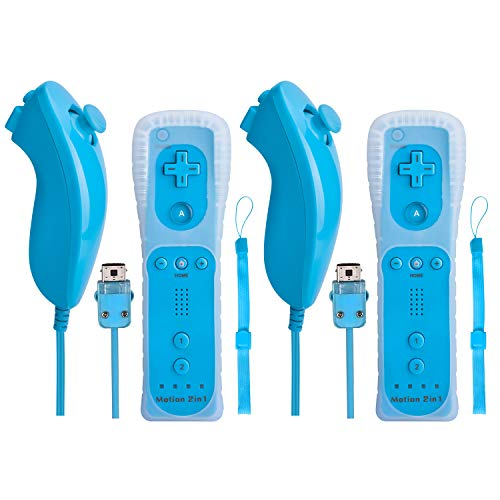 Mando para Wii con mando Nunchuck Remote Motion Plus de color negro, mando 2 en 1 Motion Nunchuck integrado con funda de silicona, compatible con Nintendo Wii y Wii U y PC (adaptador de necesidad)