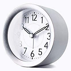 TXL 4 inch Round Silent Sweep Analog Alarm Clock Non Ticking, Gentle Wake, Beep Sounds, Increasing Volume, Battery Operated Snooze and Light Functions, Easy Set Small Desk Clock, Sparkly Silver