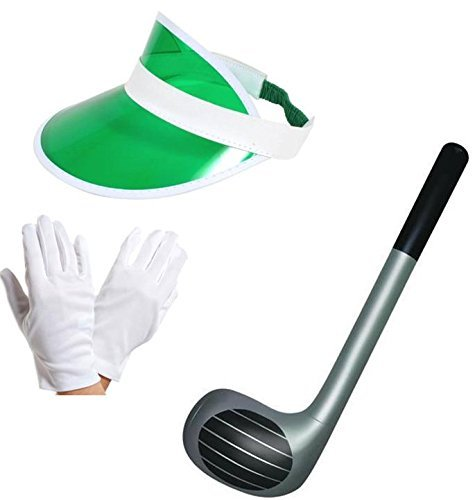 Green Visor Cap Hat Gloves and 92cm Inflatable Club Sports Fancy Dress Stag Night by Blue Planet Online