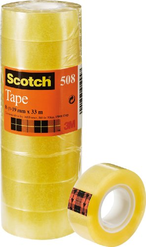 Scotch 508 - Cinta adhesiva 8 cintas, 19 mm x 33 m,