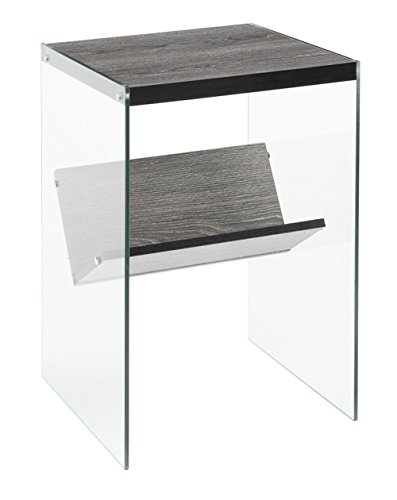 Convenience Concepts SoHo End Table, Weathered Gray / Glass