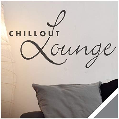 Exklusivpro Wandtattoo Spruch Wand-Worte Chillout Lounge inkl. Rakel (wrt07 Silbergrau) 80 x 44 cm mit Farb- u. Größenauswahl