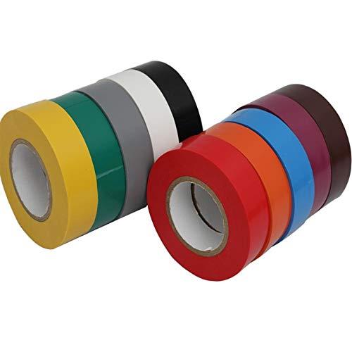 Isolierband 3 stücke 20m drahtflammhemmende elektrische isolierband elektrische Hochspannung PVC-Band 10 Farbe wasserdichtes Elektrikerband For family daily (Color : Orange 20M, Width : 19mm)