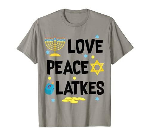Love Peace Latkes Hanukkah Chanukah - Regalo divertido Camiseta