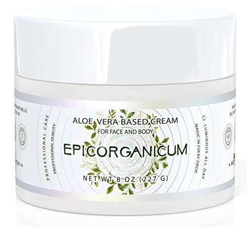 Organic Aloe Vera Moisturizing Cream - 8 oz. Body and Face Moisturizer For Acne, Psoriasis, Rosacea, Eczema,...