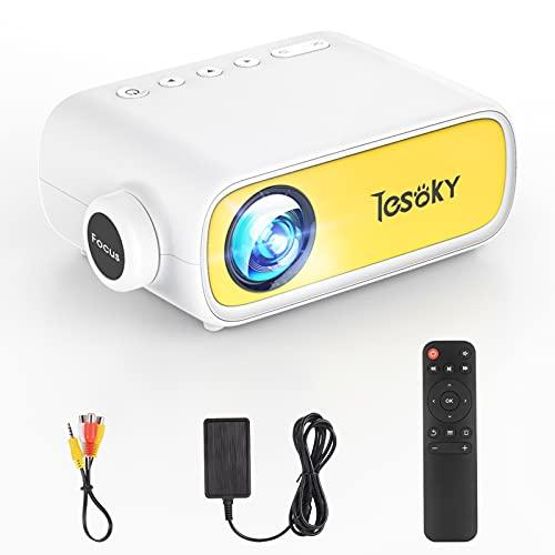 Tesoky Mini Beamer Full HD,Beamer kompatibel mit HDMI/USB/AV/iOS Android Smartphone,Mini Projektor für Heimkino als Geschenk für Kinder