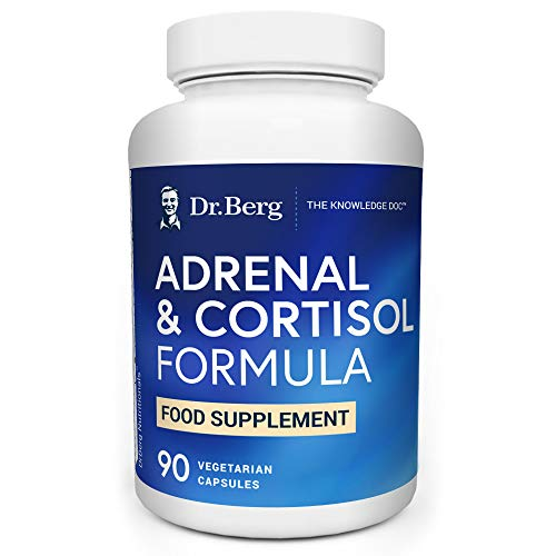 Dr. Berg's Adrenal & Cortisol Support - Supplement for Hormone Balance, Stress, & Focus - Support for Healthy Adrenal Gland - Vegetarian Ingredients 90 Capsules