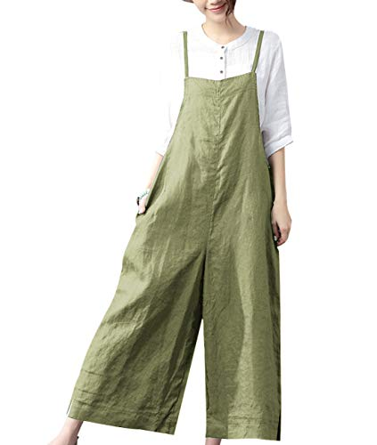 YESNO Women Casual Loose Bib Pants Wide Leg Jumpsuits Rompers Overalls/w Pockets PZZTYP2 (4XL, A-Army Green-Split Wide Leg)