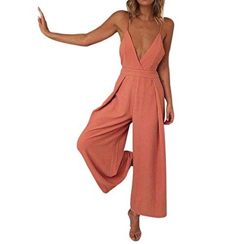 MRULIC Frauen Casual Backless Jumpsuit Clubwear Bodycon Playsuit Strampler Neckholder(Orange,EU-44/CN-XL)