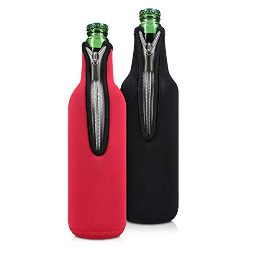 kwmobile 2X Rafraîchisseur de Bouteille Compatible avec Bouteille 330-500ml - Lot de Refroidisseurs Bouteilles Verres Bière Vin Soda - Noir-Rouge