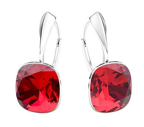 Crystals & Stones NEUHEIT - SQUARE - Tolle Ohrringe - FARBE VARIANTEN !! - Silber 925 Schön Damen Ohrringe mit Kristallen von Swarovski Elements - Wunderbare Ohrringe !! (Scarlet)