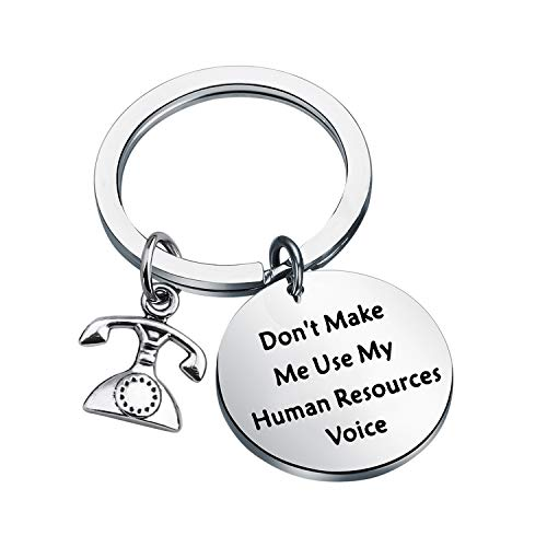 ENSIANTH Human Resources Gift Don't Make Me Use Human Resources Voice Keychain HR Manager Gift Coworker Gift (Human Resources Key)
