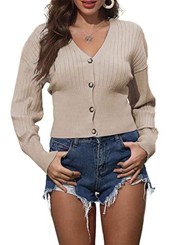 CORAFRITZ Ropa exterior para mujer cubierta frontal abierta cárdigans de color sólido cuello en V, dobladillo elástico, botones de manga larga, hombros caídos, suéter de punto