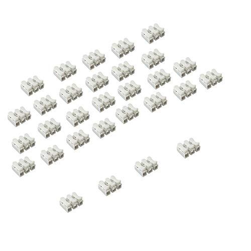 30 Stück Weiß CH3 Federverbindungsstück, Klemmverbinder Kabel Stecker Drahtklemmen, Schnellanschlussklemme, 3 Pins Kabel Stecker,Stoßverbinder,die LED Streifen Licht Draht Anschluss
