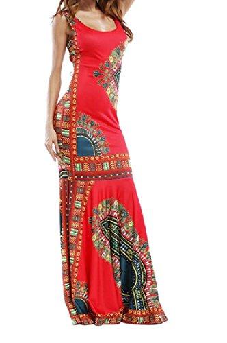 Zimaes-Women Vestido Largo Estilo Africano sin Mangas con Estampado Floral, Rojo, XS