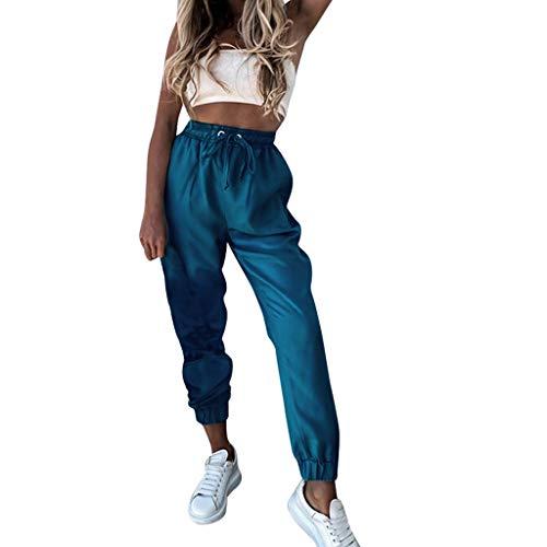 Weant Damen Cargo Hosen High Waist PU Leder Leggings mit Tasche Hip Hop Jogger Street Hose Sweatshose Teenager Mädchen Sporthose Capris Jogger Pants Boyfriend Jogginghose Jeans