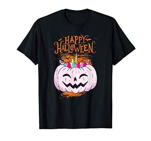 Feliz disfraz de calabaza y unicornio de Halloween Camiseta