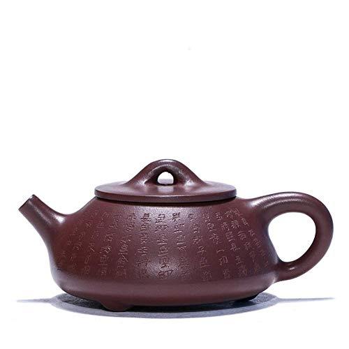 ADSE Tea Maker Pot Heart Sutra Stone Scoop Teapot Purple Clay Pure Handwork Teapot Travel Tea Masters (Color : Purple mud, Size : One Size)