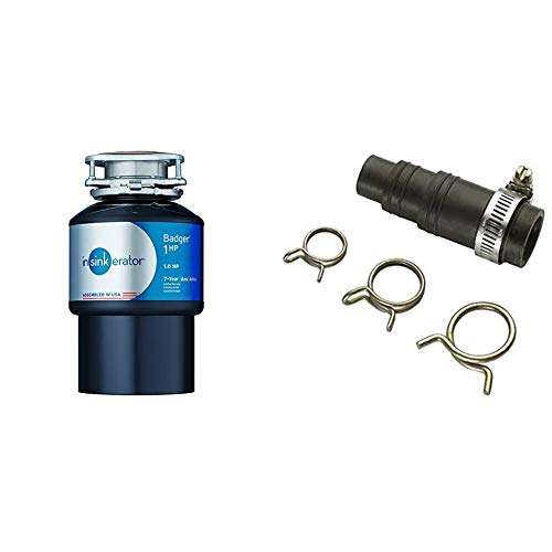 InSinkErator Garbage Disposal, Badger 1 HP Continuous Feed, Black & DWC-00 Dishwasher Connector Kit, Black