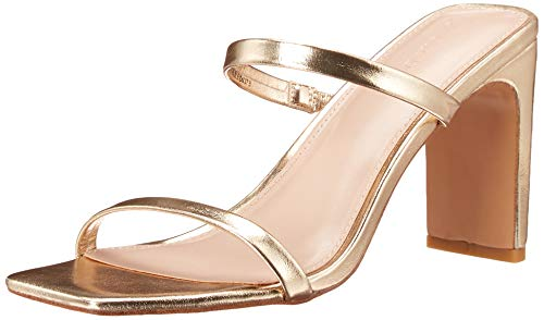 The Drop Women's Avery Square Toe Two Strap High Heeled Sandal, Gold, 5