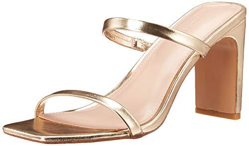 The Drop Damen Avery Square Toe Two Strap High Heeled Sandalen, Gold, 39 EU