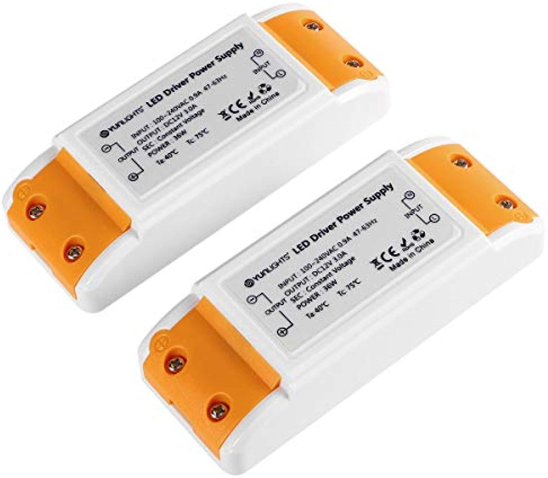 YUNLIGHTS 2pcs LED-TRAFO Driver 12V DC, 36W max. 3A, Stabilisierte Spannungsquelle für LED Lampen, Ideal für LED Lichtstreifen, sowie für G4, MR11 und MR16 LED Lampen