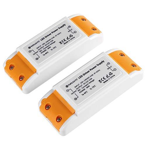YUNLIGHTS 2pcs LED TRAFO 12V, LED Driver Transformer 12V DC, 36W max. 3A, Transformator 220V to 12V Stabilisierte Spannungsquelle passend für 1-36w LED Lampen
