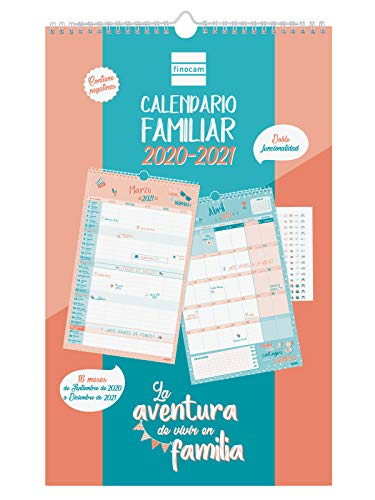 Finocam - Calendario de Pared Familiar 16 Meses 2020-2021 Mes Vista Aventura Español, 540200121, Basic-250 x 400