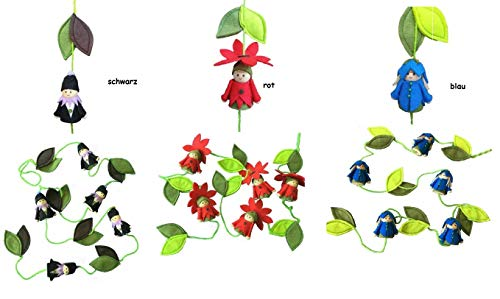 NETPROSHOP Action slinger/Mobilé met bloemenkinderen en bladeren, 11-delig, ca. 1,6 m. zwart