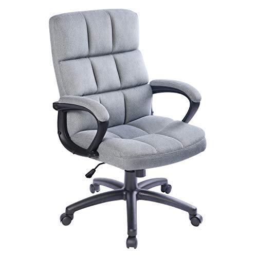 Qulomvs Computer-Bürostuhl mit Armlehnen, ergonomisches Design, Stoff, Chefsessel für Zuhause und Büro, super weiche Rückenstütze, 360° Drehstuhl mit Rollen (Grau)