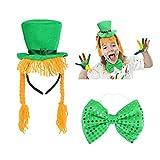SEELOK Sombrero de San Patricio,1pcs Diadema de Sombrero Irlandés Gorro con Trenza para Día de San Patricio Accesorios de Disfraces Cosplay Fiestas de Irlandesas