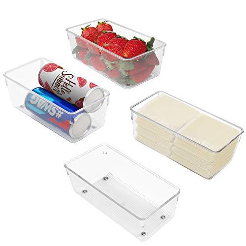 Kurtzy Kühlschrank Organizer Box Set für Küche, Schränke (4Stk) Plastik Organizer 20cm Lang, Ordnungssystem Transparent für Bad, Speisekammer, Gefrierschrank, Küchenschrank Organizer Schublade